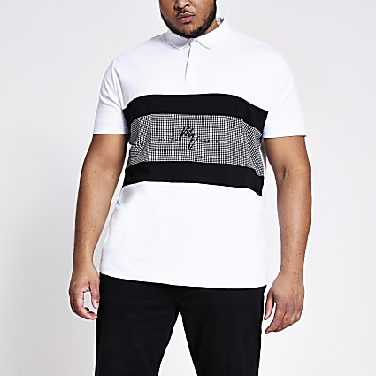 Big and Tall Maison Riviera white polo shirt