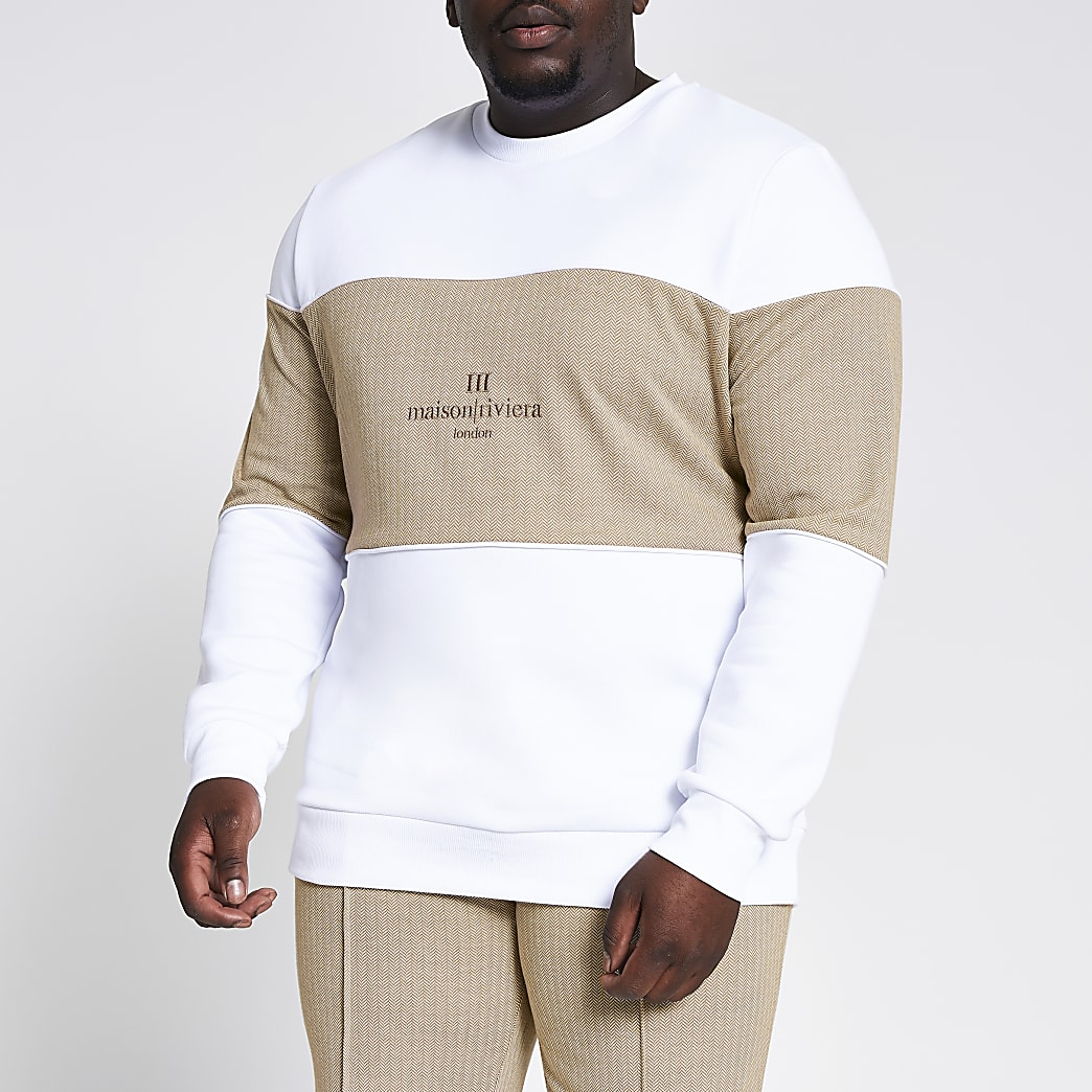 Big and Tall Maison Riviera white sweatshirt