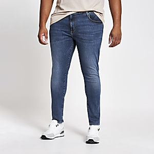Big and Tall - Ollie - Middenblauwe spray-on jeans