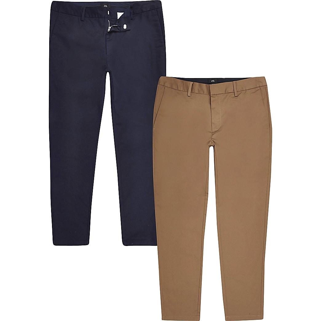 Big and Tall - Set van 2 marineblauwe en bruine jeans