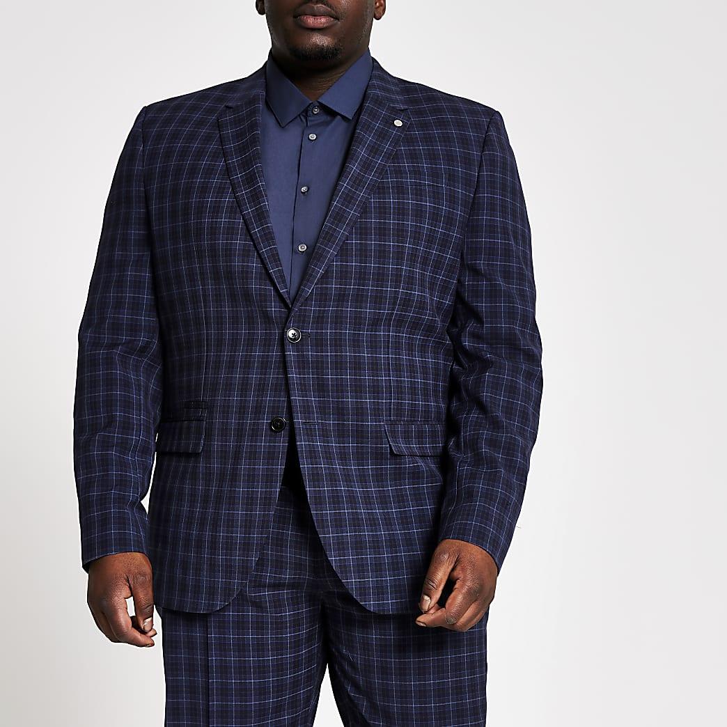 Big and Tall – Marineblaue Slim Fit Anzugjacke mit Karomuster