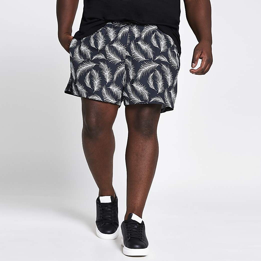 Big and Tall navy feather print swim shorts