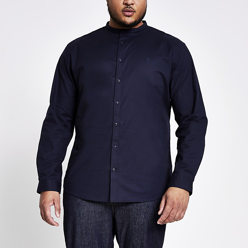 Big and Tall navy grandad slim fit shirt