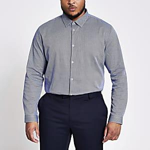Big & Tall – Marineblaues Hemd mit Fischgrätenmuster
