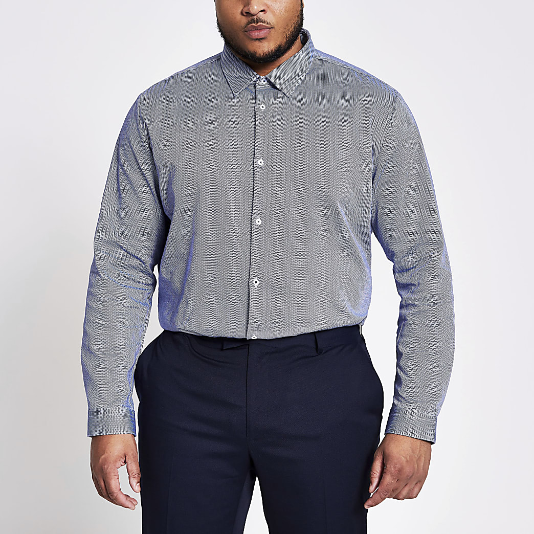 Big and Tall navy herringbone shirt