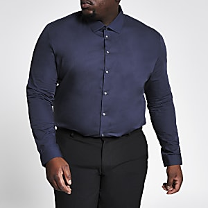 Big and Tall – Marineblaues Slim Fit Langarmhemd