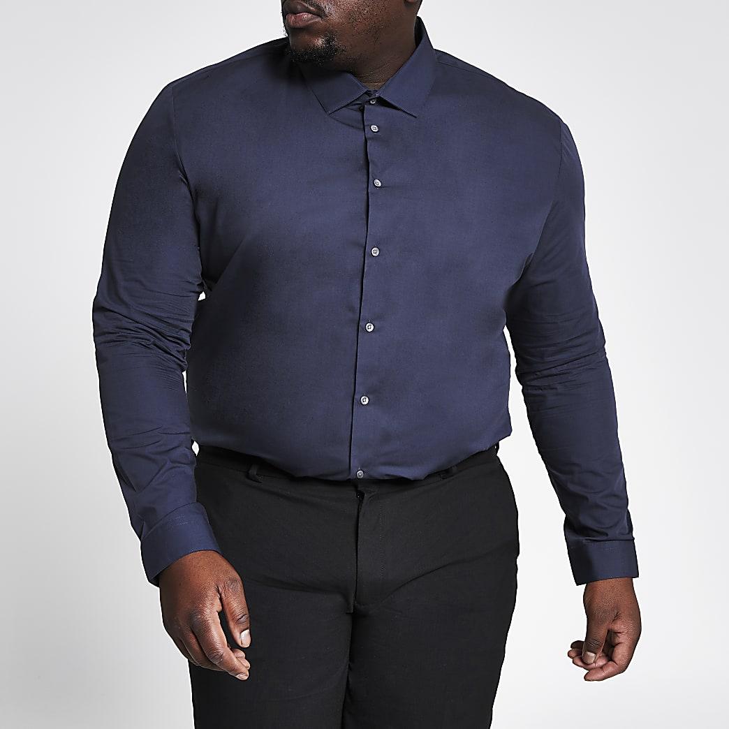 Big and Tall - Marineblauw, slim-fit overhemd met lange mouwen