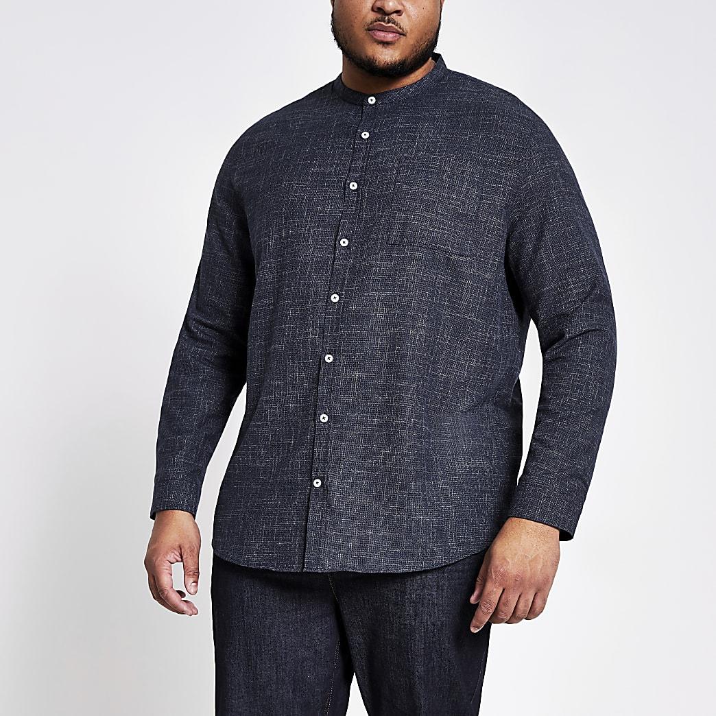 Big and Tall – Marineblaues Slim Fit Hemd mit Neppy-Effekt