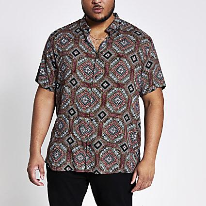 Big and Tall navy printed slim fit shirt