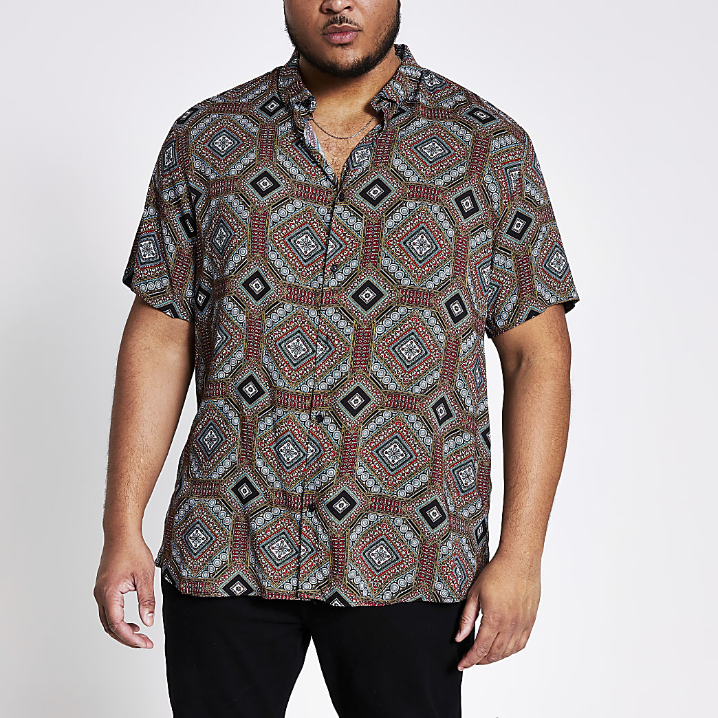 Big and Tall navy printed slim fit shirt