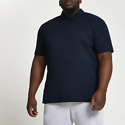 Big & Tall navy ribbed slim fit polo shirt
