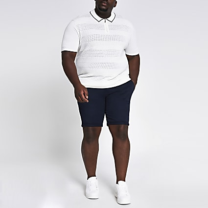 Big and Tall navy skinny fit chino shorts