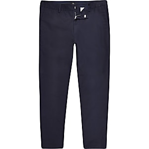 Big & Tall – Marineblaue Skinny Fit Chino