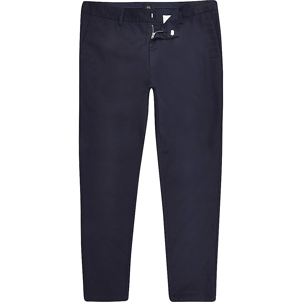 Big and Tall navy skinny fit chino trousers