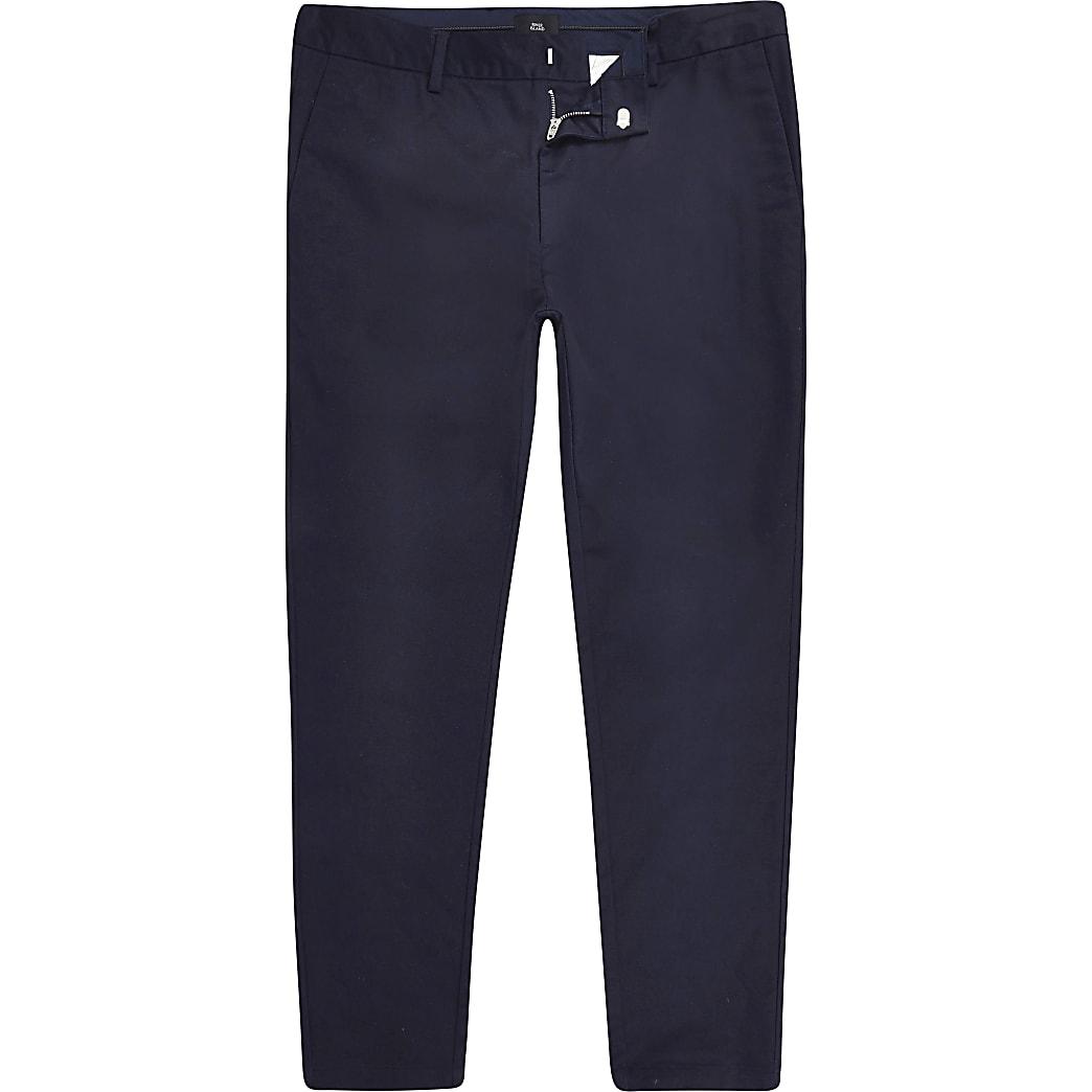 Big and Tall - Marineblauwe skinny-fit chino broek
