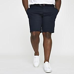Big & Tall – Marineblaue Slim Fit Chino-Shorts