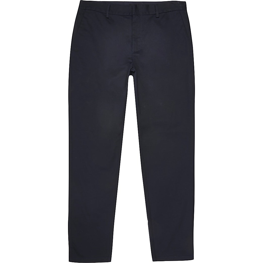 Big and Tall navy slim fit chino trousers