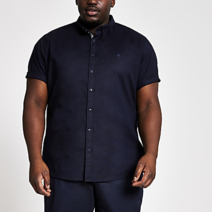 Big and Tall navy slim fit Oxford shirt