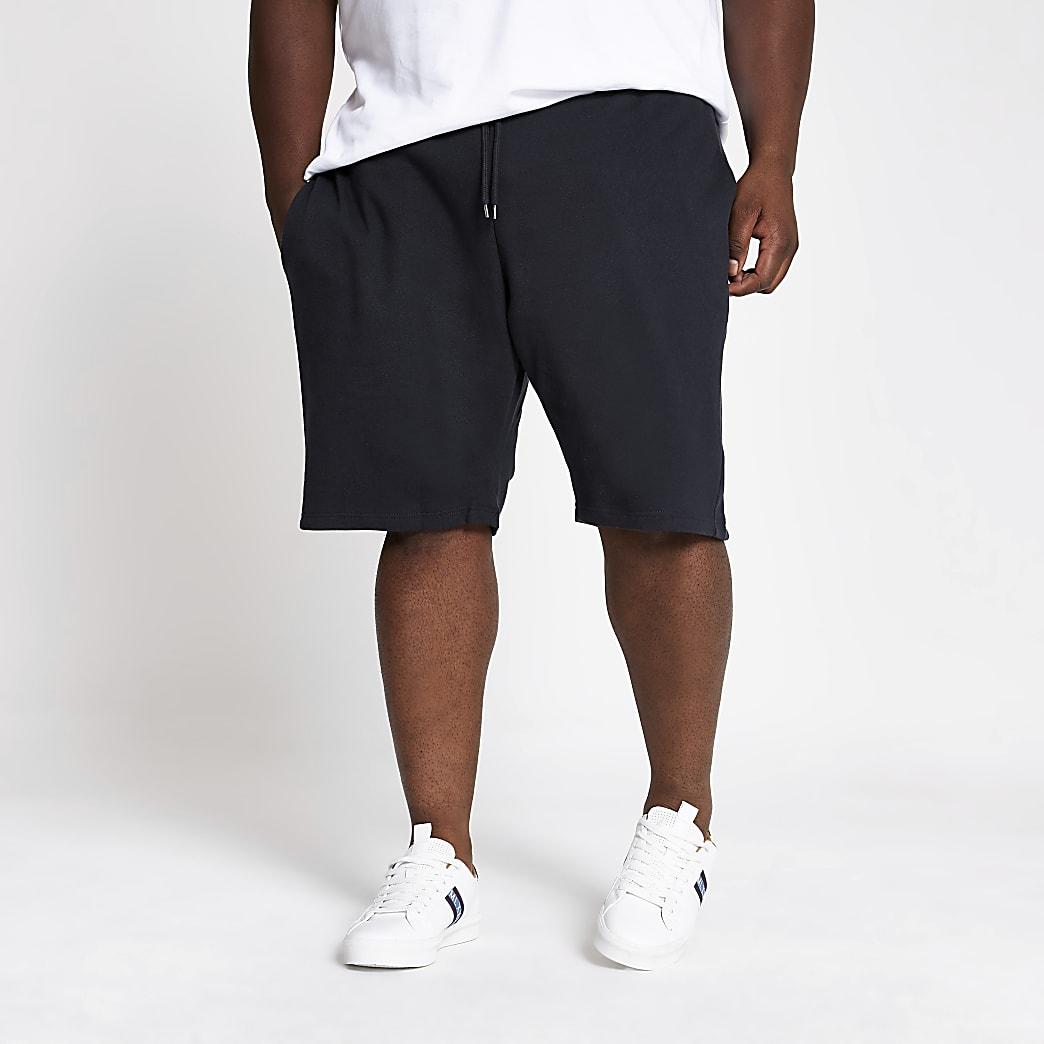 Big & Tall – Marineblaue Slim Fit Piqué-Shorts