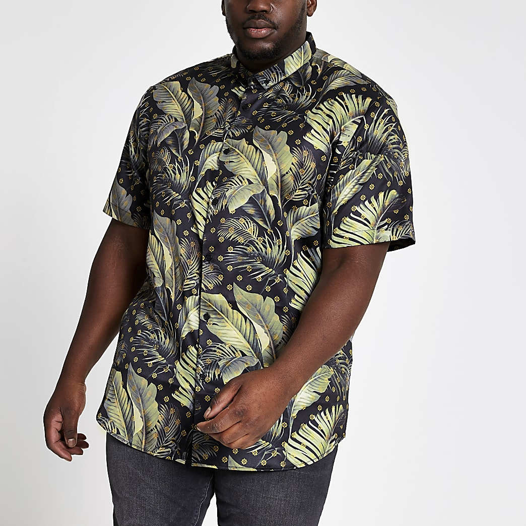 Big and Tall navy slim fit short sleeve shirt