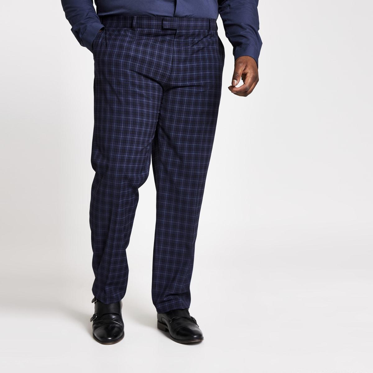 RI Big and Tall - Marineblauw slim-fit pantalon
