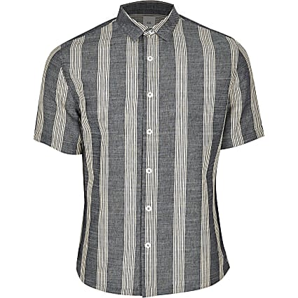 Big and Tall navy stripe regular fit shirt