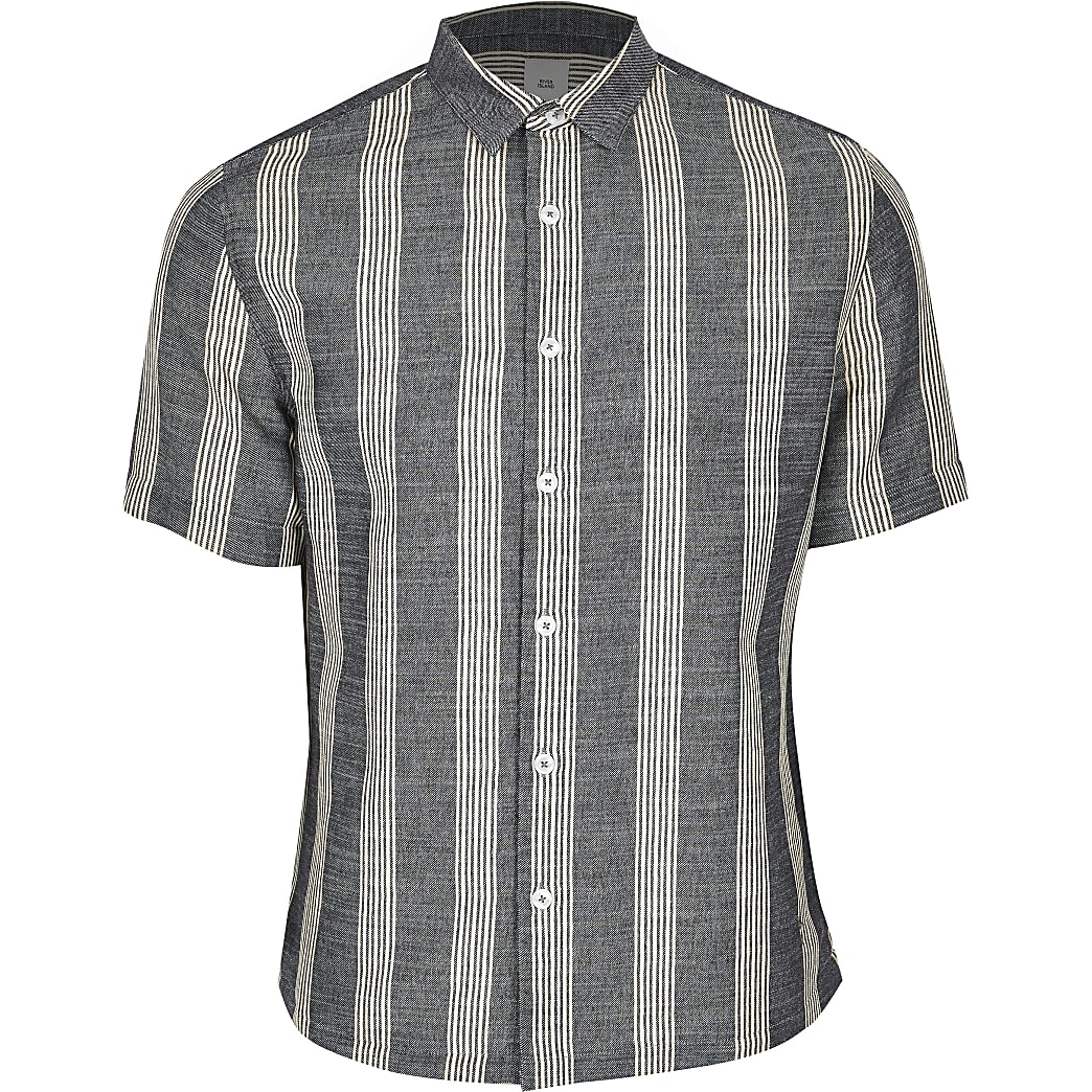 Big and Tall – Marineblaues, gestreiftes Regular Fit Hemd