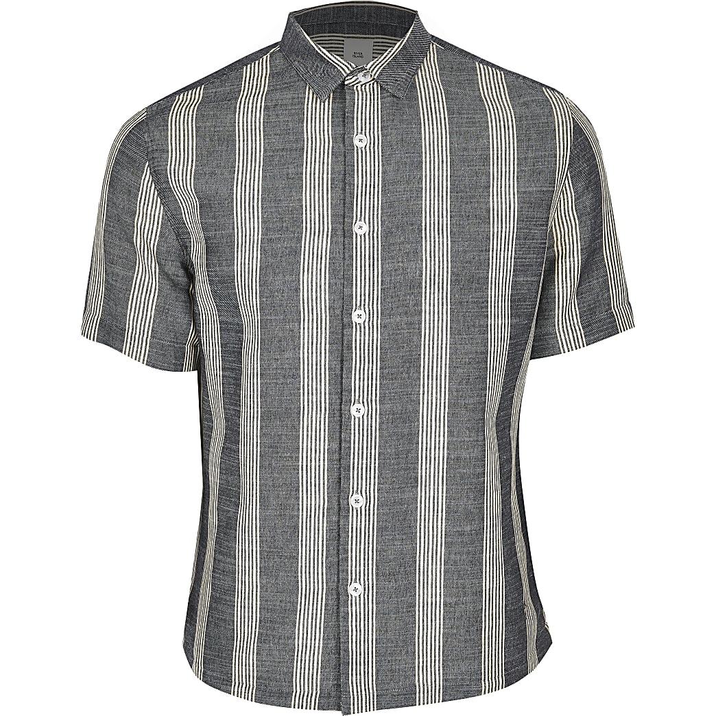 Big and Tall - Marineblauw gestreept regular fit overhemd