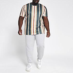 Big and Tall - Marineblauw gestreept slim-fit T-shirt
