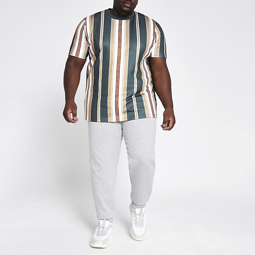 Big and Tall – Marineblaues, gestreiftes Slim Fit T-Shirt