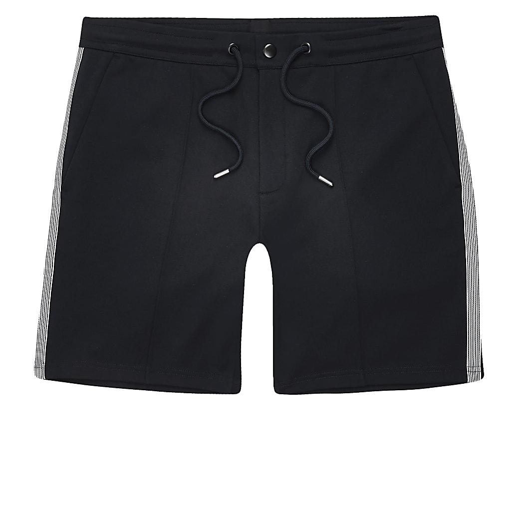 Big and Tall – Shorts en jersey avec bande latérale bleu marine