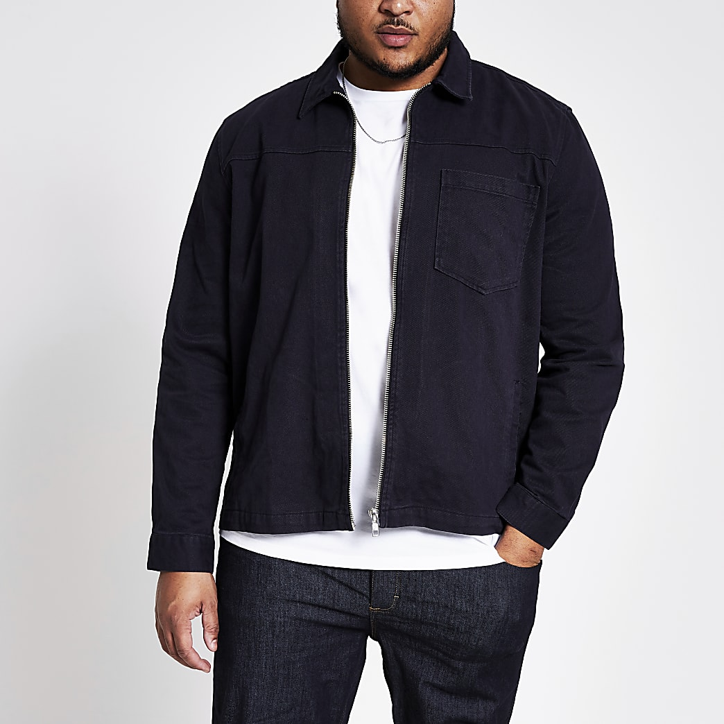 Big and Tall navy zip front overshirt
