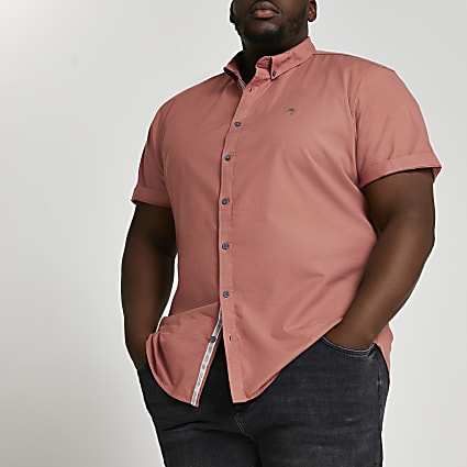 Big & Tall orange short sleeve Oxford shirt