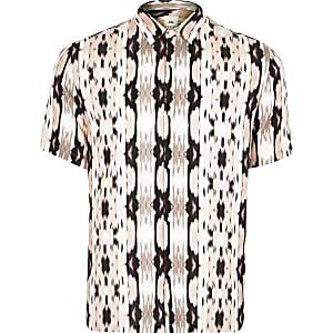 Big and Tall pink print slim fit shirt