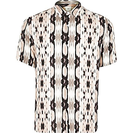 Big and Tall pink print slim fit shirt