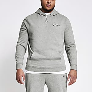 Big and Tall - Grijze slim-fit Prolific hoodie