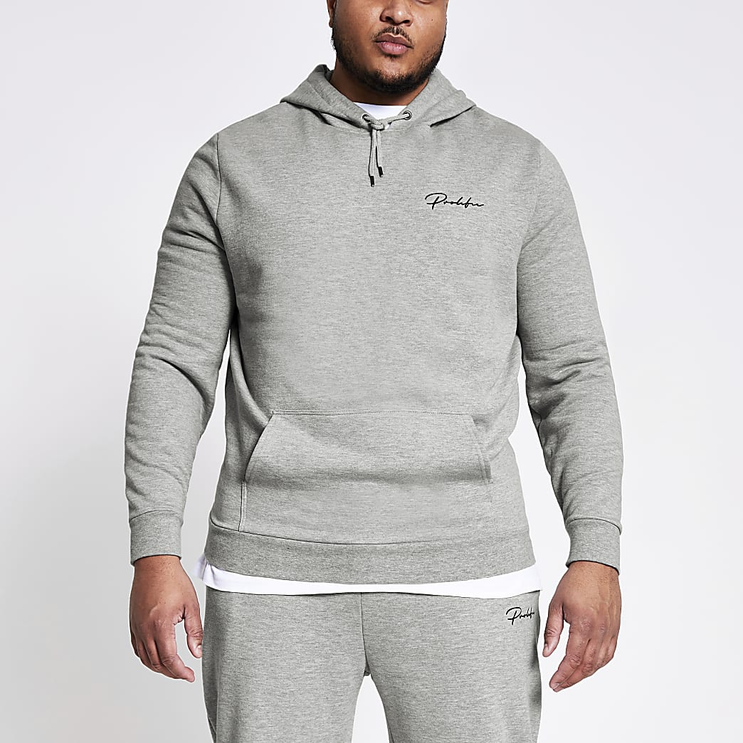 Big and Tall- Grijze slim-fit Prolific hoodie