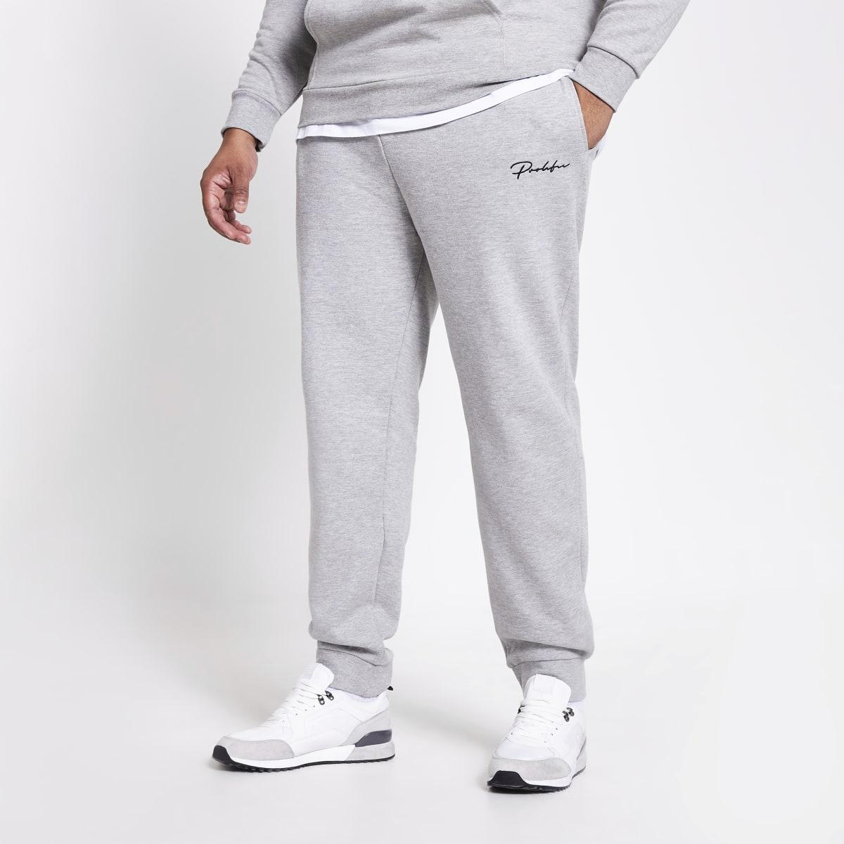 Big and Tall- Grijze slim-fit joggingbroek met Prolific-print