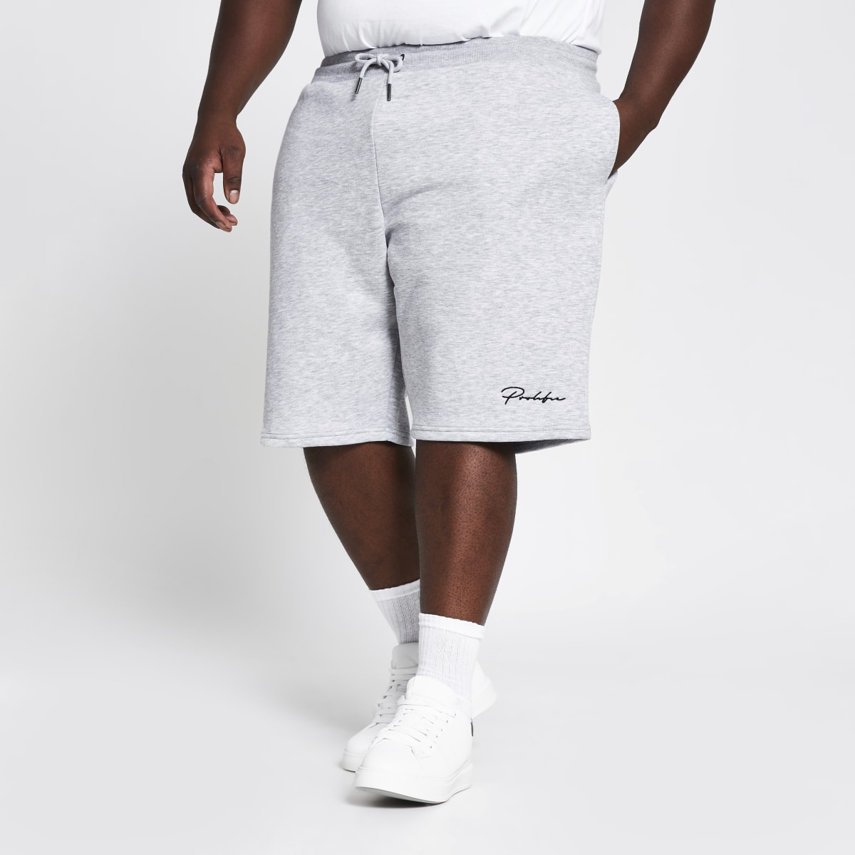 Big and Tall - Grijze slim-fit shorts met Prolific-print