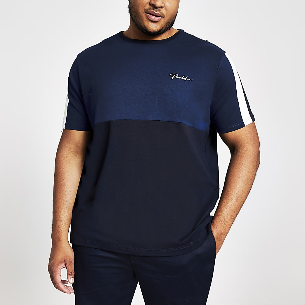Big and Tall Prolific navy blocked T-shirt