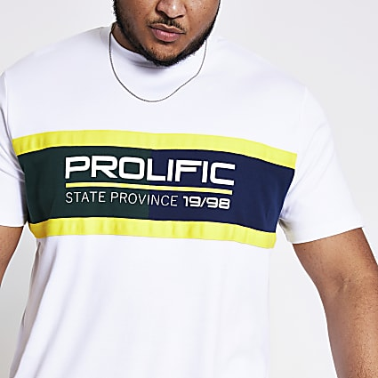 Big and Tall Prolific white block T-shirt