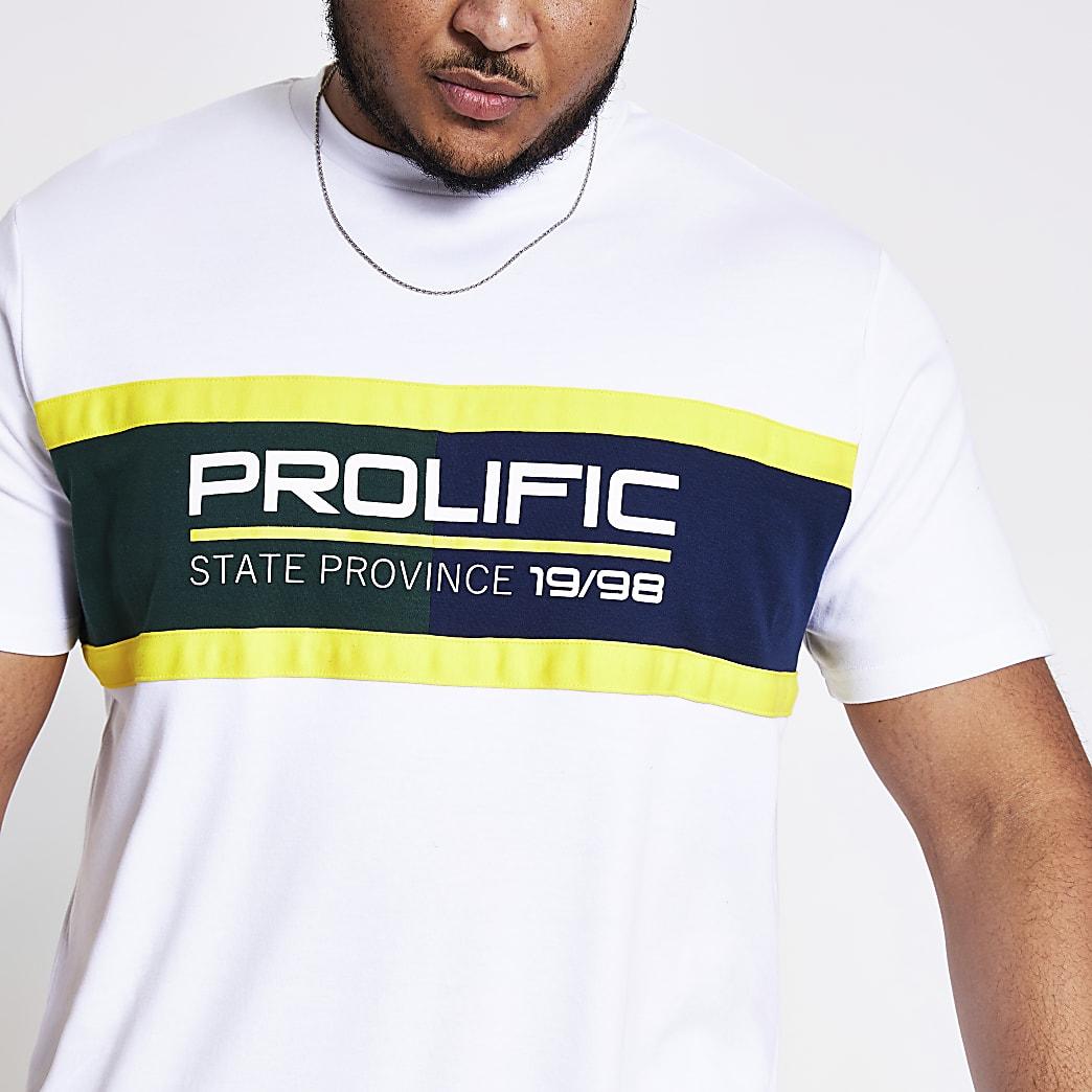 Big and Tall - Prolific - Wit T-shirt met kleurvlakken