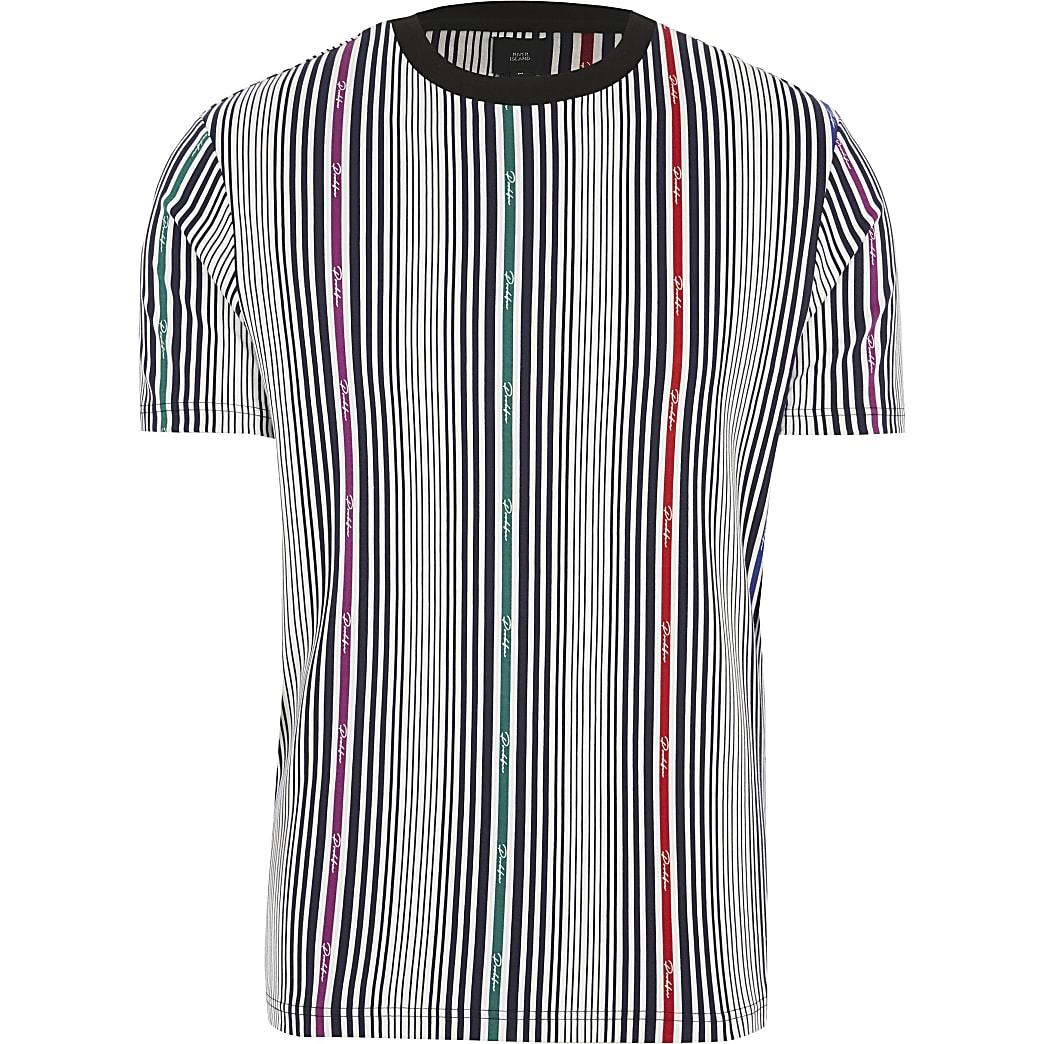 Big and Tall – Prolific – T-shirt blanc à rayures