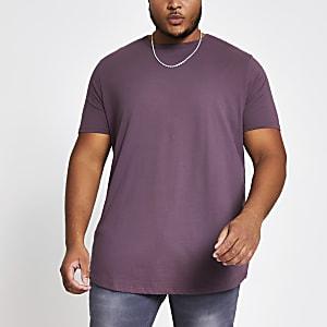 Big and Tall purple curve hem T-shirt