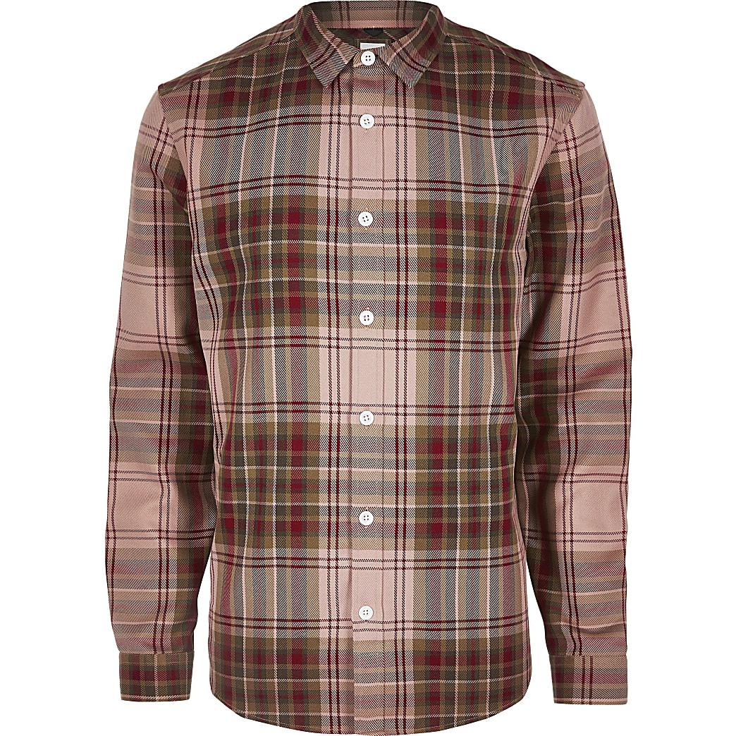 Big & Tall – Chemise manches longues à carreaux rouge
