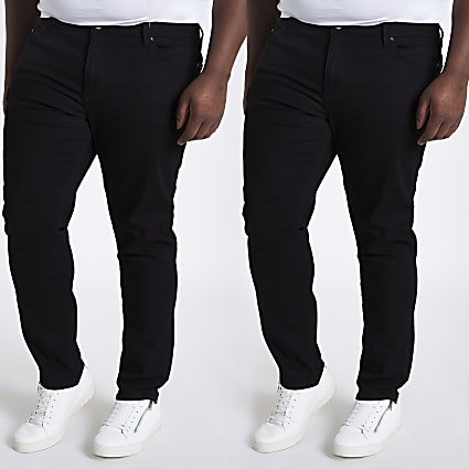 Big and Tall Sid skinny fit jeans 2 pack