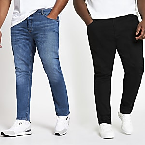 Big and Tall – Lot de 2 jeans Sid skinny