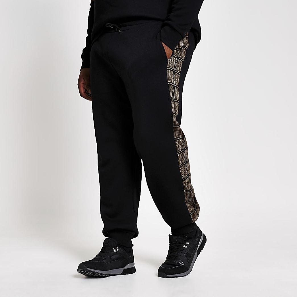 Big and Tall– Slim Fit Jogginghose mit kariertem Streifen an der Seite