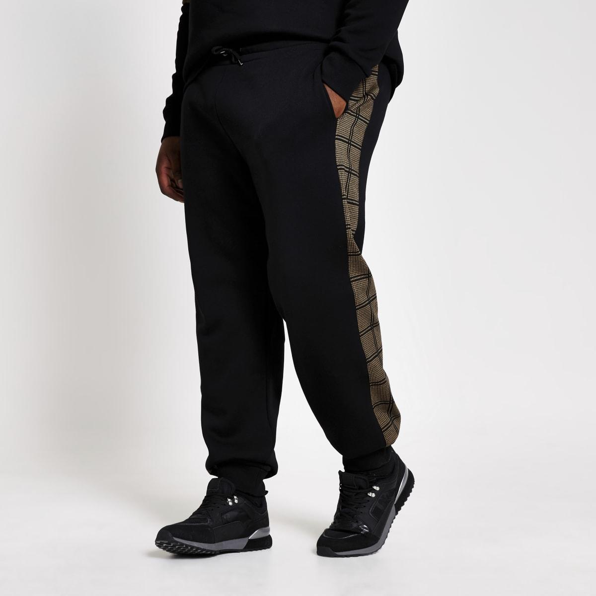 Big and Tall– Pantalon de jogging slim avec bande à carreaux sur lecôté