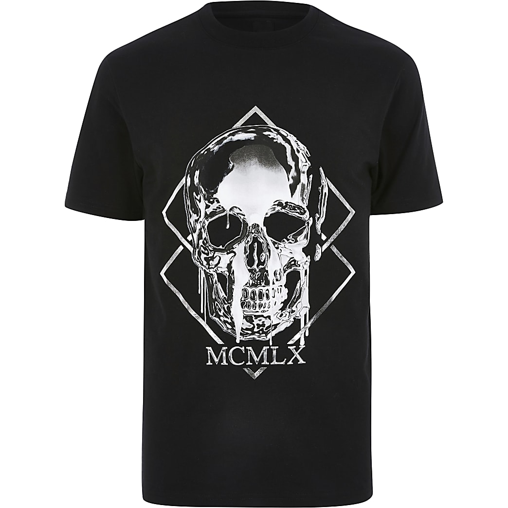 Big and Tall skull print slim fit T-shirt